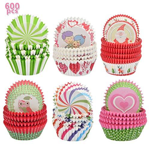 YANSHON Mini Muffinförmchen, 600 Stück Papierförmchen für Muffins, Papier-Backförmchen für Pudding Dessert Hochzeit Party 5 x 3cm