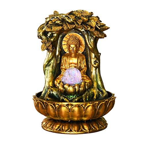 Hkw-shop Zimmerbrunnen Buddha - Wasserbrunnen 33 cm (13 Zoll) für Heim- und Bürodekoration mit LED-Beleuchtung und drehbarer Kugel für Glück C