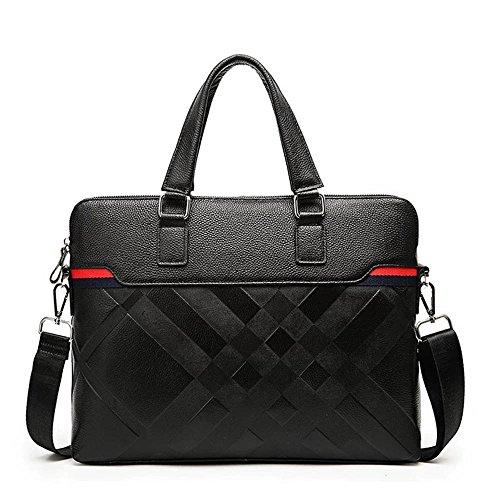 NYDZDM Mens Rindsleder Aktentasche Lässig Tote Crossbody Schulter Messenger Bag Handtasche Für 15-Zoll-Netbook Laptop Zip Up Schwarz