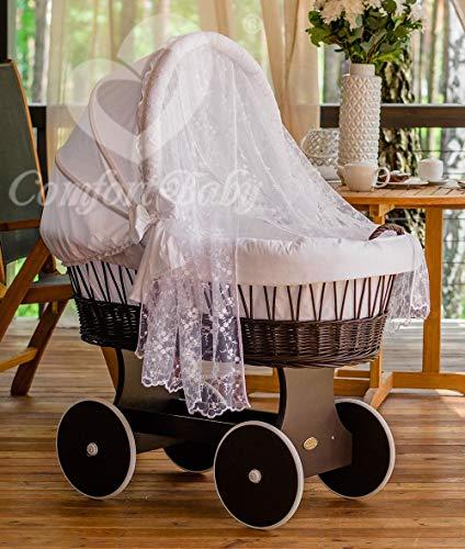 ComfortBaby ® Snugly Baby Stubenwagen mit Moskitonetz - komplette 'all inclusive' Ausstattung - Zertifiziert & Sicher (WalnussBraun-Weiß)