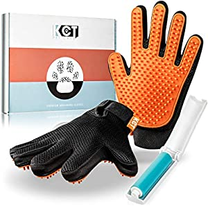 KCT Pet Care Pet Grooming Gloves - Gentle Deshedding Glove - Cat Grooming Gloves - Dog Grooming Glove - 260 BPA Free & Non Toxic Silicone Tips Per Glove