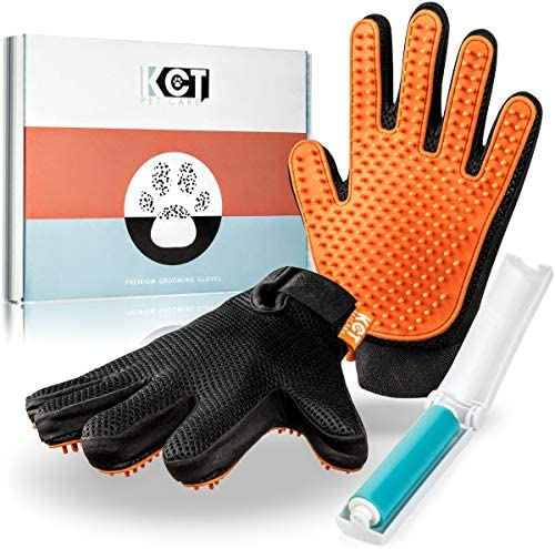 KCT Pet Care Pet Grooming Gloves Gentle Deshedding Glove Cat Grooming Gloves Dog Grooming Glove product image