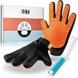 KCT Pet Care Grooming Gloves - Washable Travel Sized Lint Roller Included - Gentle de-Shedding Brush for Dogs and Cats - 260 BPA Free & Non Toxic Silicone Tips Per Glove