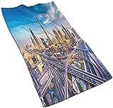 Toallas de Mano, Vista panorámica del Paisaje Urbano árabe de Dubai, Edificios de Gran Altura, Carreteras de tráfico, Estampado de Patrones, Suave Toalla de baño Altamente Absorbente para ba