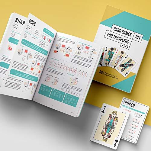 Juegos de cartas para viajeros - A partir de 6 años | Incluye libro con 30 juegos clásicos y 2 mazos de cartas | Juego de fiesta | Noche de juegos | 1 a 12 jugadores | Aprende a jugar a las cartas