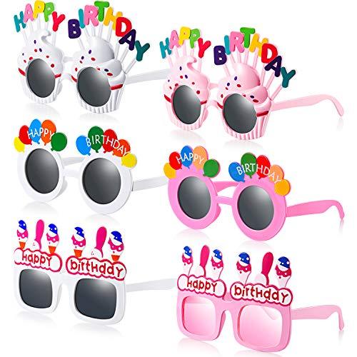 6 Pares de Gafas de Cumpleaños Gafas de Sol de Fiesta de Happy Birthday Gafas Divertidas Favores de Fiesta Foto Props para Adolescentes Adultos