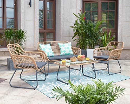 Vintagehaus Sitzgruppe Outdoorset Rattan Bamboo Lounge 4 teilig inkl. Kissen Polyrattan