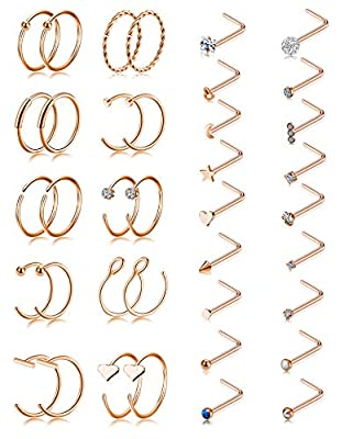 Tornito 20G 38Pcs Stainless Steel Nose Screw Studs Rings CZ Hoop Tragus Cartilage Nose Ring L Shaped Labret Nose Piercing Jewelry for Men Women