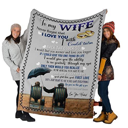 Manta de Franela Letras Tablero de Mensajes Personalizado Manta Manta súper Suave Marido alienta y ama para Esposa Regalos De Cumpleaños día de San Valentín Marido para Mi Esposa,150 * 200cm