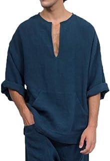 Camicia a Maniche Lunghe in Lino da Uomo, T-Shirt Ampia Oversize in Medio Oriente