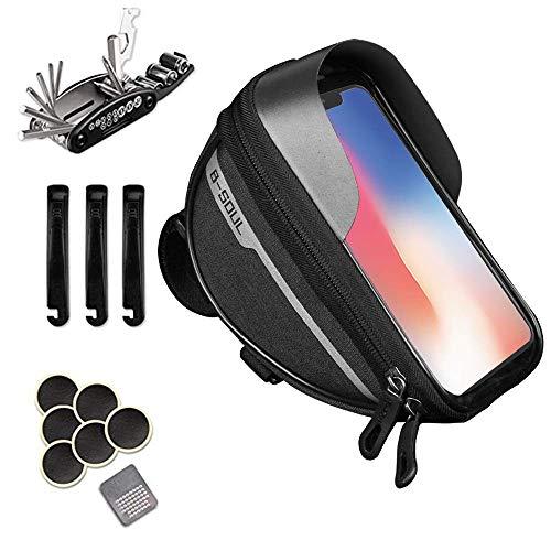 izosen Bolsa impermeable para manillar de bicicleta, para pantalla táctil, para smartphones de 6,5 pulgadas