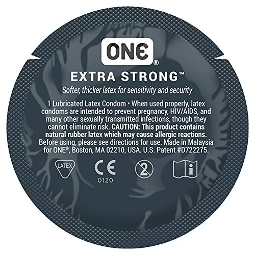 ONE Extra Strong with Silver Lunamax Pocket Case, Stronger, Thicker Latex Condoms-24 Count