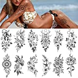 CFADAI Temporary Tattoos Stickers - 12 Sheets Realistic Flower Large Peony Rose Temporary Tattoos Stickers,Sexy Body Art Big Arm Legs Waterproof Black Tattoos Temporary For Adults Men Women Girls