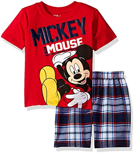 Disney Toddler Boys' Mickey Mouse Plaid Short Set with T-Shirt, Red 6