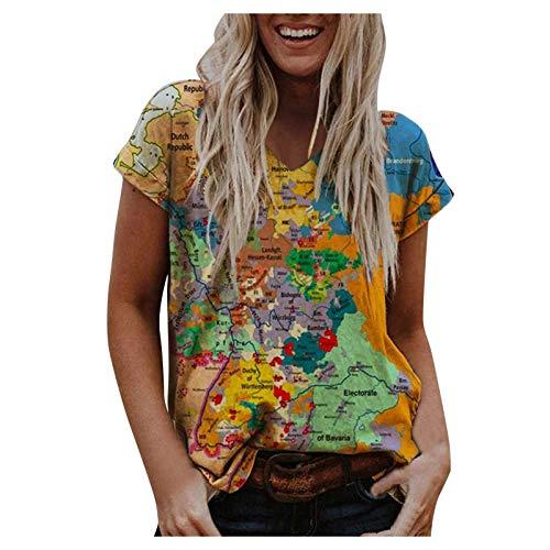 INLLADDY Damen lustiges Tshirt 3D Druck Kurzarm Rundhals locker Karte T-Shirt Oberteile Teenager Mädchen Kurzarmshirt Orange XL