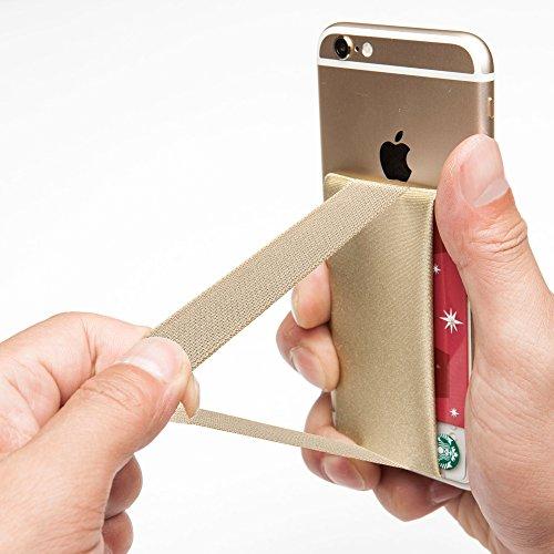 Sinjimoru Smart Wallet mit Handy Fingerhalterung, Slim Wallet/Kartenetui/Kartenhalter/aufklebbare Mini Geldbörse mit Handschlaufe für die Einhandbedienung. Sinji Pouch Band, Beige.