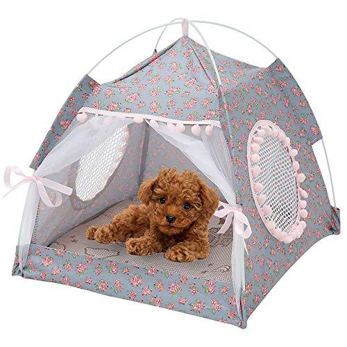 38 x 38 x 39 cm Haustier-Tipi für Hunde und Katzen, tragbares Zelt mit Kissen, abnehmbar und waschbar, für kleine Katzen, Hunde, Kaninchen (grau, Gewicht 2,5 kg)