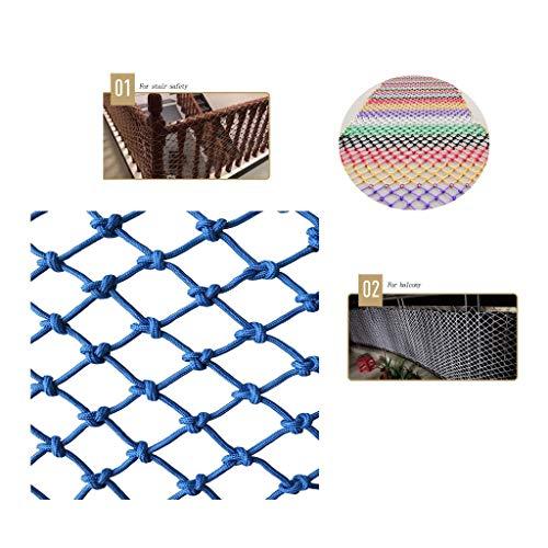 Blaues Schutznetz Seilnetz, Kletterschutz Dekoratives Nylon-Seilnetz for den Außenbereich, Hochbett for Kinder Balkon Anti-Fall-Netz (6 mm Seil, 8 cm Loch) (Farbe: Blau) (Size : 1 * 2m)