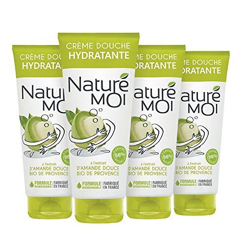 Naturé Moi – Crème douche à l'extrait d'amande douce bio de Provence – Hydrate et nourrit les peaux normales à sèches – Lot de 4 – 200ml