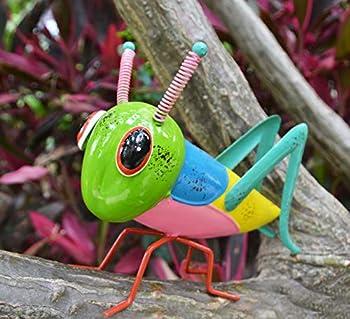 GIFTME 5 Metal Yard Art Grasshopper Garden Statues Suitable for Patio,Lawn,Tree,Backyard Locust Decor,9.5 Inch Green