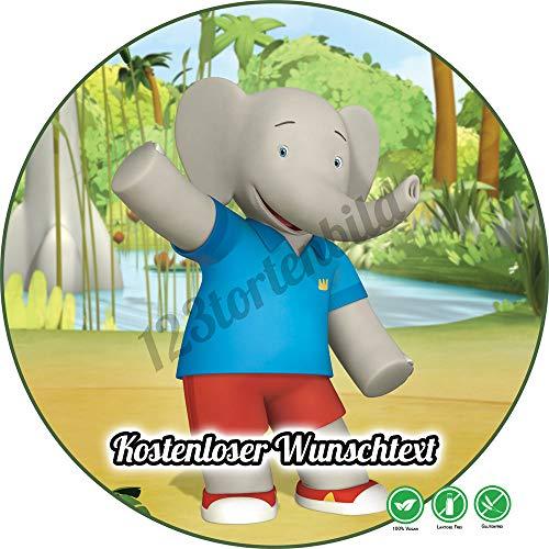 Tortenaufleger aus Zuckerpapier Geburtstag Tortenplatte Zuckerbild Motiv: Babar der Elefant 02