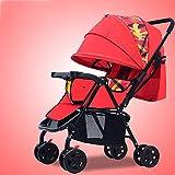 NCSBB Tragbarer Baby-Kinderwagen für Neugeborene und Kleinkinder - Cabrio Stubenwagen, kompakter Einzel-Kindersitz rot