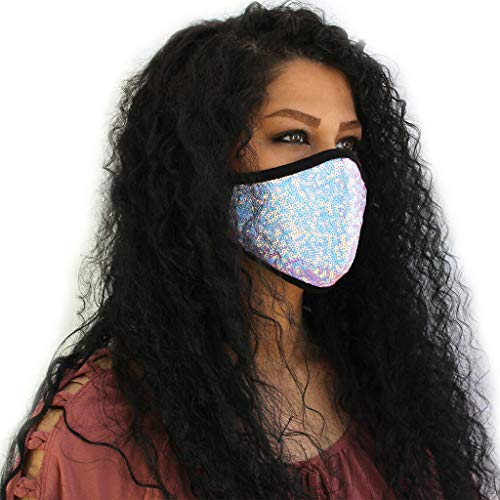 Shining Facemask for Women Ladies, Fashion Face Covering with Bling Bling Sequin Glitter for Weding Party Bar Pub Festival, Stylish Facemask