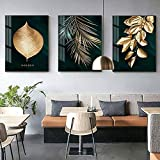 kaxiou - Tableau Mural Abstrait avec Feuilles dorées - Style Moderne - Impression sur Toile - Décoration Unique - 50 x 70 cm - 3 pièces - sans Cadre