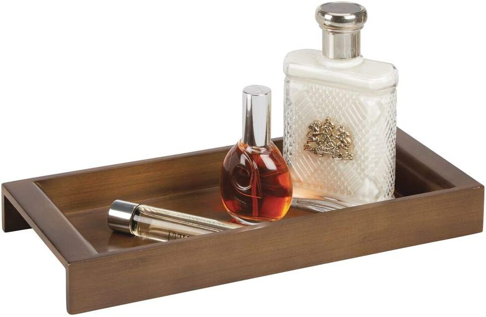 Brown mDesign Bamboo Wood Storage Organizer Tray for Bathroom Vanity Countertops Grooming Kit and Guest Hand Towels Glasses Keys Holder for Watches Dressers Cologne Closets