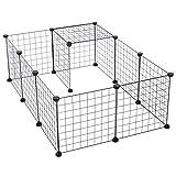 Pawhut Cage Parc enclos pour Animaux domestiques L 106 x l 73 x H 36 cm Bords arrondis Fil métallique Noir 55