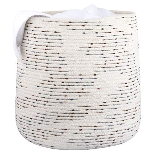 LA Jolie Muse 38cm Cesto Grande in Corda di Cotone,Cestini Portaoggetti con 2 Manici, Colore Bianco con Motivo a Pois