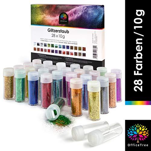 OfficeTree 28 x 10 g Glitzerstaub Plus 2 Leerdosen - Glitzer Basteln mit Streufunktion fein und grob - Glitzerpulver geeignet für Nail Glitter Tattoos Körper und als Glitzer zum Basteln