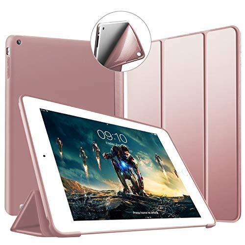 VAGHVEO Funda para iPad 2/3 / 4, Ultra Slim Protectora Silicona Smart Cover [Auto-Sueño/Estela] Cubierta Trasera de Silicona Suave TPU Case para Apple iPad 2, iPad 3, iPad 4 Tableta, Oro Rosa