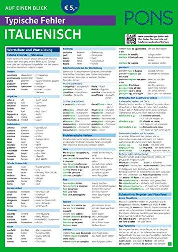 PONS Typische Fehler auf einen Blick Italienisch - So vermeiden Sie die häufigsten sprachlichen Fettnäpfchen! (PONS Auf einen Blick)