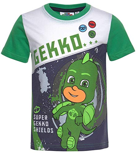 PJ MASK T-Shirt Jungen Gekko, Catboy, Eulette Pyjamahelden 98 104 110 116 128 (grün, 104)