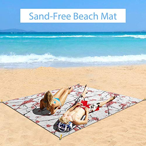 Review Of Large Waterproof Outdoor Picnic Blanket, Illustration of Sakura Branches Windy April Weath...
