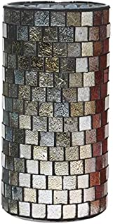 Hosley Mosaic Glass Tea Light Candle Holder - Your Choice of Colors and Size. Ideal Gift for Wedding Party Favor Spa Home Bridal Reiki Meditation O7 (C-Silver, 7.8