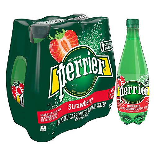 Perrier Strawberry Flavored Carbonated Mineral Water, 16.9 fl oz. Plastic Bottles (6 Count)
