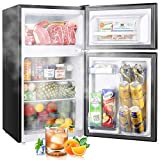 Mini Fridge with Freezer, TECCPO 3.0 Cu.Ft 2 Reversible Door Mini Fridge 84L, 7 Adjustable Thermostat Control, Energy Star, Dorm Refrigerator