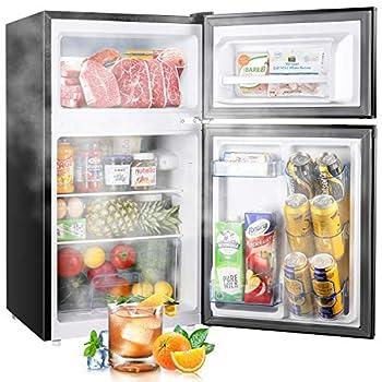 TECCPO Mini Fridge with Freezer 3.0 Cu.Ft 2 Reversible Door Mini Fridge 7 Adjustable Thermostat Control Energy Star Dorm Refrigerator TAMF34