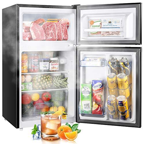TECCPO Mini Fridge with Freezer, 3.0 Cu.Ft. 2 Reversible Door Mini Fridge, 7 Adjustable Thermostat Control, Energy Star, Dorm Refrigerator, TAMF34