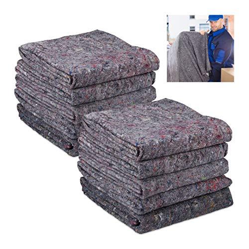 Relaxdays Lot de 10 couvertures de déménagement en Non-tissé recyclé, pour Le Transport et Le Stockage Gris 150 x 200 cm