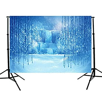 OMG_Shop 7x5ft Vinyl Thin Photography Backgrounds Frozen Anna and Elsa Crystal Ice Theme Photo Back Drop for Kids Baby 1.5x2.1m
