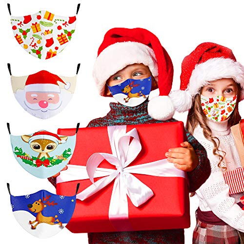 Christmas Face Mask Reusable, Kids Cloth Face Masks Washable Breathable Designer, Adjustable Cute Cotton Face Covering with Ear Loops for Children Girls Boys Gifts Indoor Outdoor, 4PCS