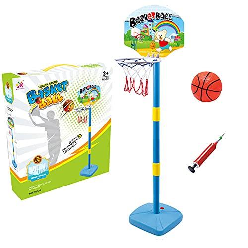 Soporte de baloncesto altura ajustable para baloncesto para jugar al aire libre Canasta de Baloncesto Movil Altura Ajustable Juguetes interactivos al aire libre 126,5 x 34 cm (con baloncesto / bomba)