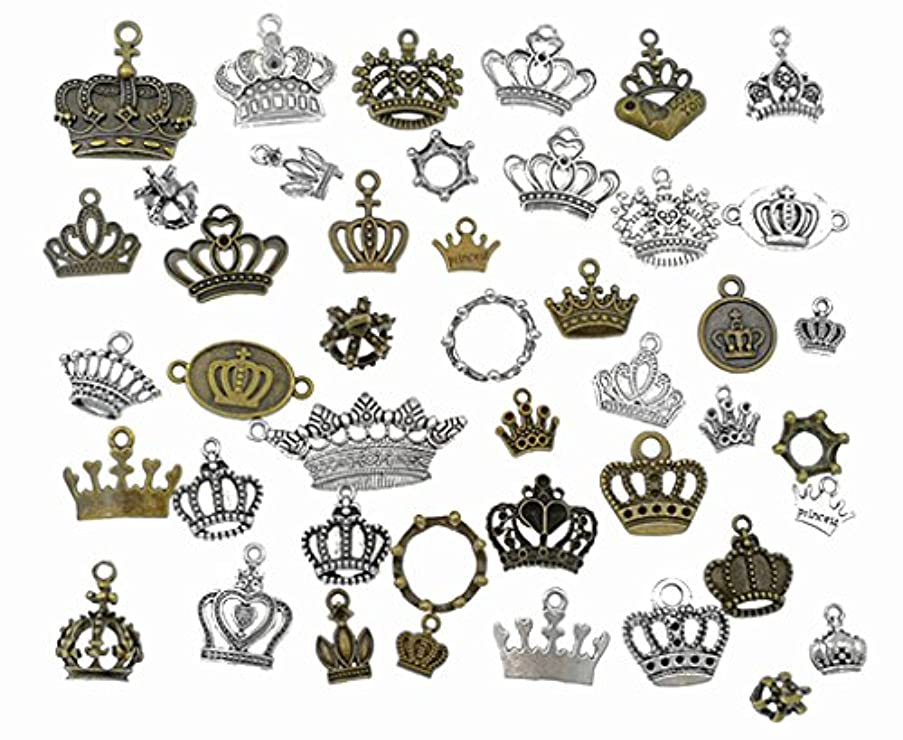 Kinteshun Alloy Multistyle Crown Charm Pendant Connector for DIY Jewelry Making Accessaries(44pcs,Antique Silver&Bronze Tone)