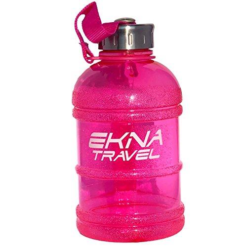 EKNA Bottle | 1 Liter | Wasserflasche | Trinkflasche | Wasser Gallone | Ideal für den täglichen Wasserbedarf | Für den Alltag, Fitness oder Reisen | BPA Frei | Mit Füllstandsanzeige (Pink 1000ml)
