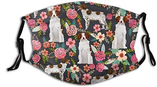 WEI RONGHUA Unisex Gesichtsbedeckung, Bretagne Spaniel, Blumenmuster, niedlich, bemalt, für Hunde, Sporthunde, wiederverwendbares Tuch M-a-sk Schutzabdeckung, atmungsaktive Sturmhaube