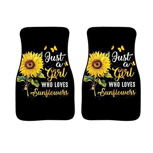 WELLFLYHOM Girl Love Sunflower Car Floor Mats Set of 2