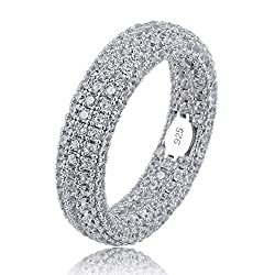 White Gold 925 Sterling Silver Fully Iced Out Diamond Ring